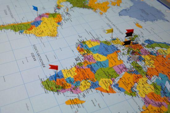 Kaart met bestemmingen
